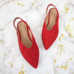 Halogen Red Suede Sadie Slingback Pointed Flats
